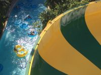 yellow and blue inflatable pool